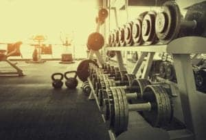A picture of a gym in sephia depicting Bodybuilding guidelines