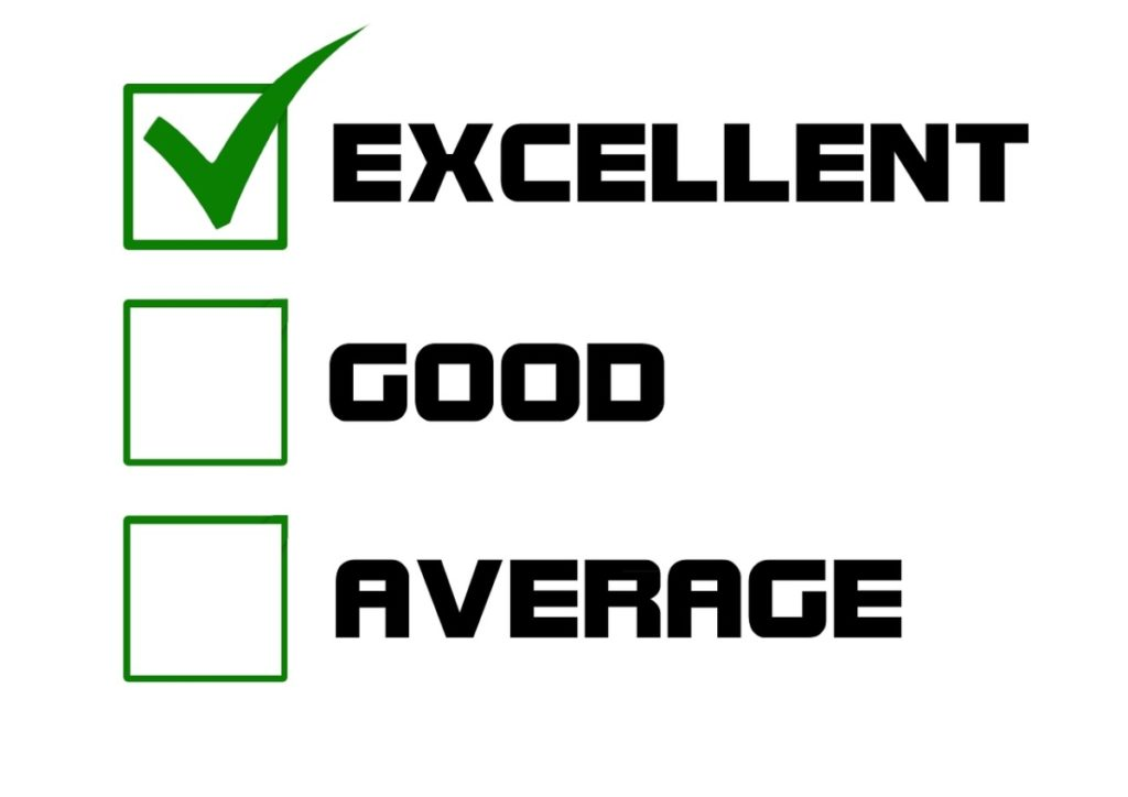 A checklist with excellent, good and average written down and the only one checked is excellent.