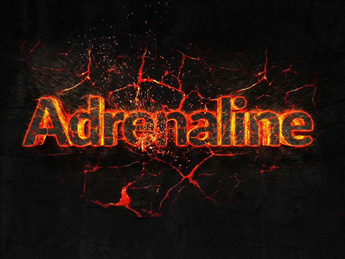 Adrenaline Fire text flame burning hot lava explosion background as an example of power and strength from lifting with a trap bar