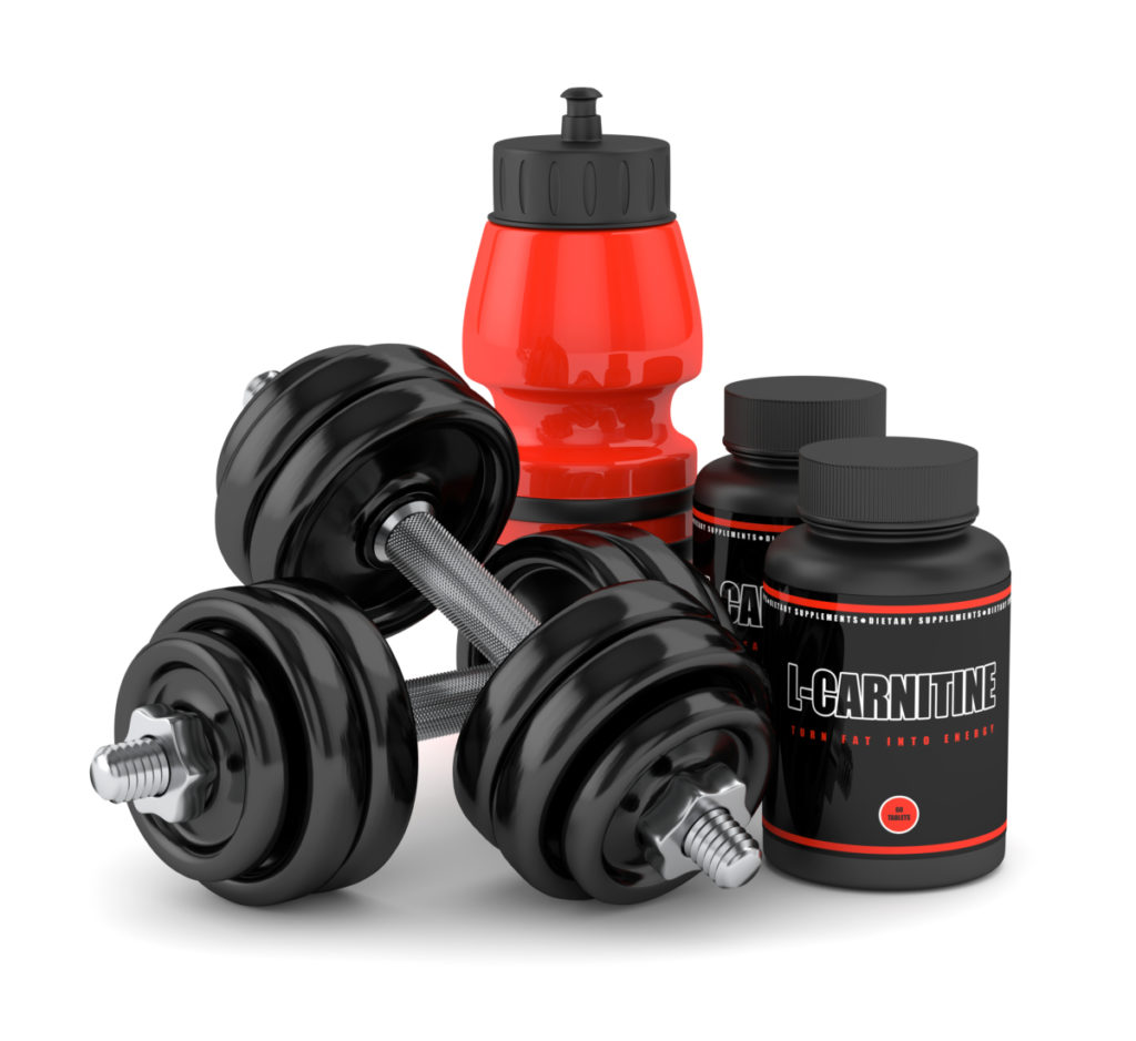 3D render of l-carnitine with dumbbells and water bottle isolated over white background referring to whether or not you should take l carnitine before bed