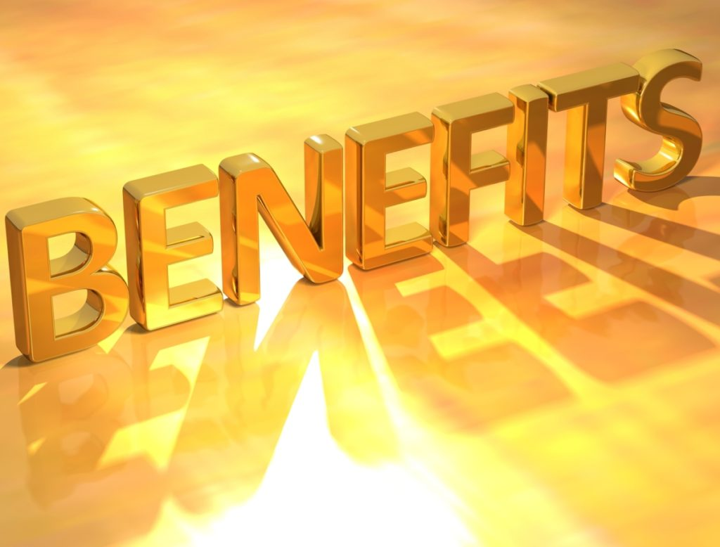 The word benefit written in gold letters referring to the benefits of taking vegan BCAAs