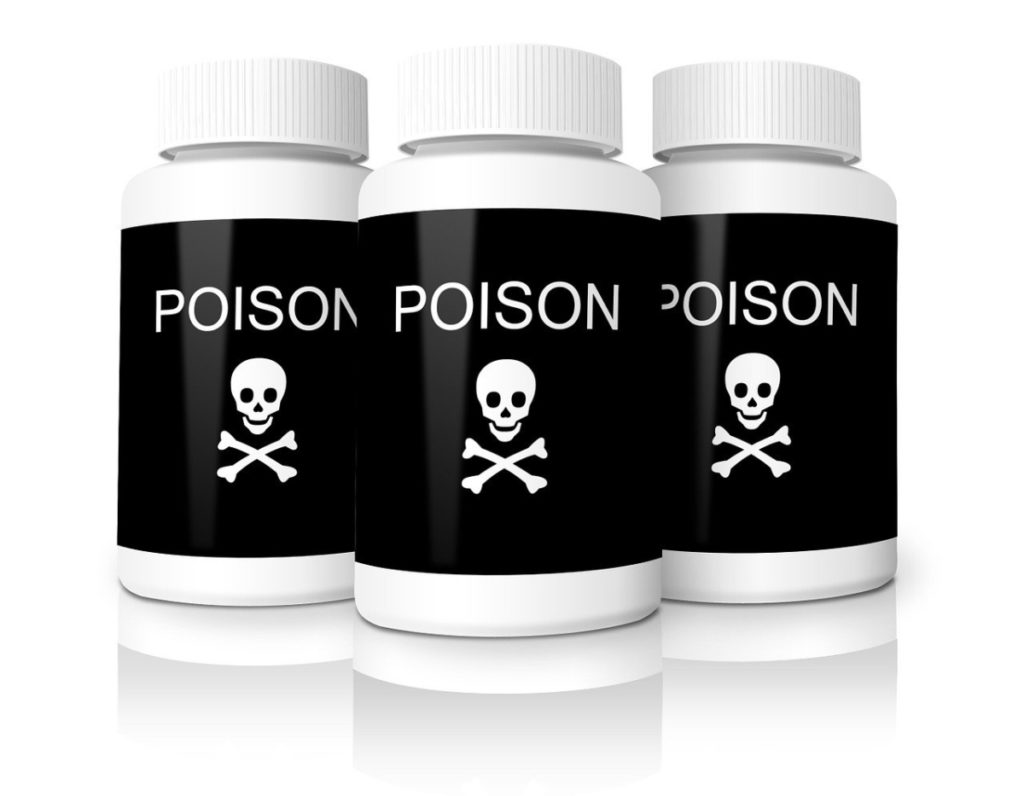 3 white bottles with black labels that have a skull and crossbone on them depicting how poisonous illegal steroids can be.