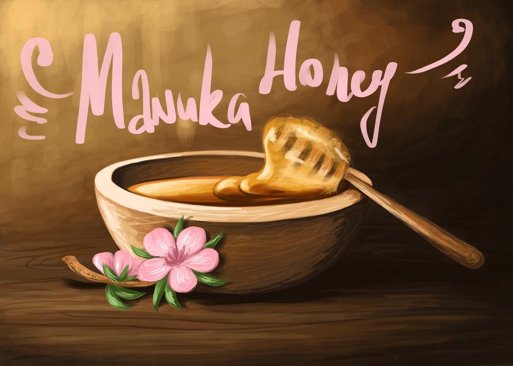 a wooden bowl of the best manuka honey