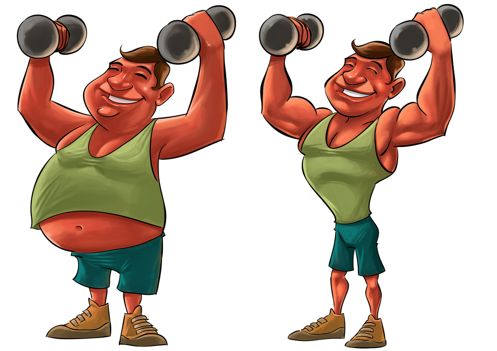 two guys, one fat and another strong with Dumbbells in a cartoon form