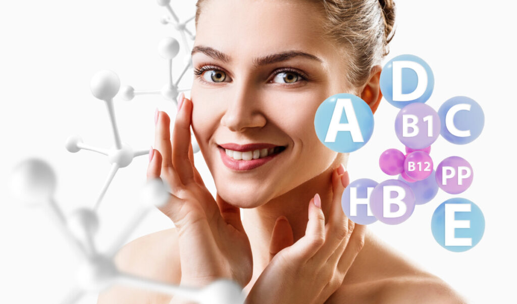 Young woman with vitamin balls near face and molecules chain. Healthy vitamin concept. Over white background.