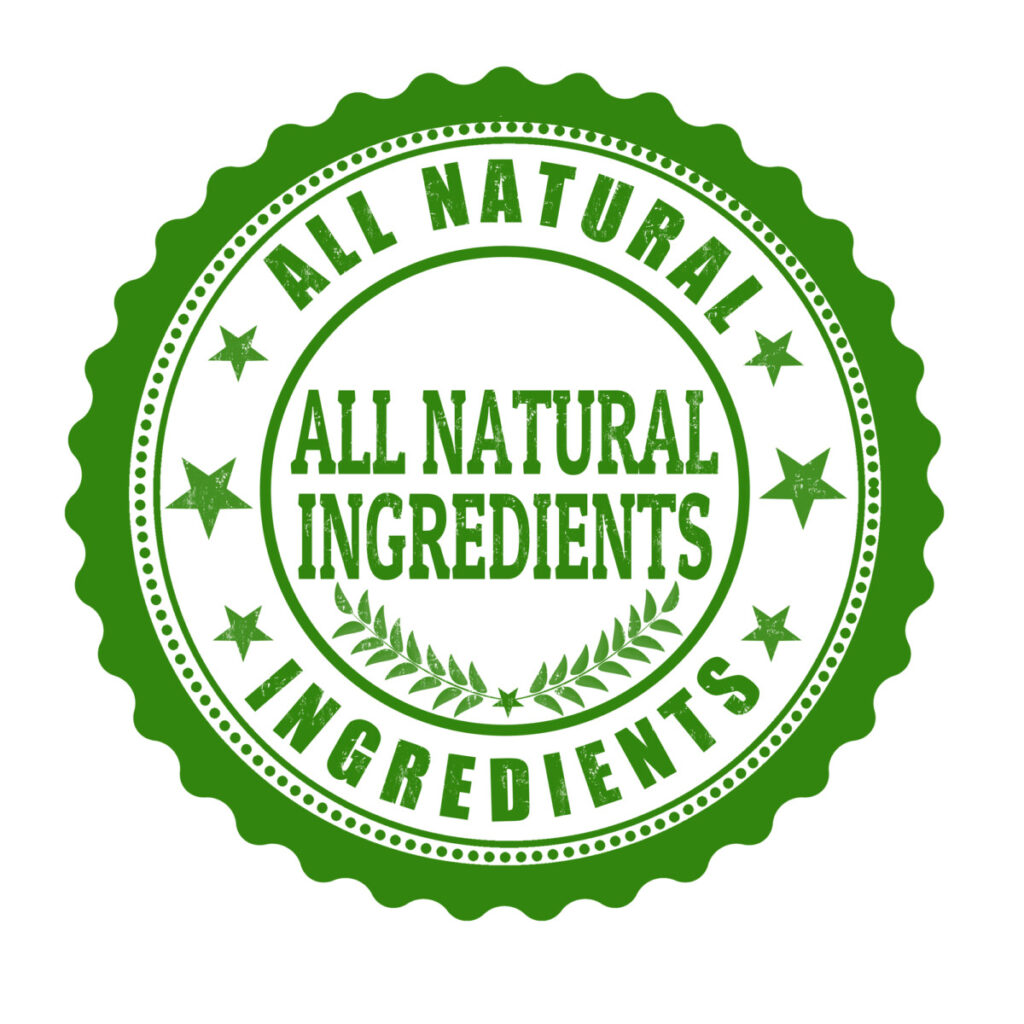 green stamp with the words all natural ingredients written on it referring to natural fat burners