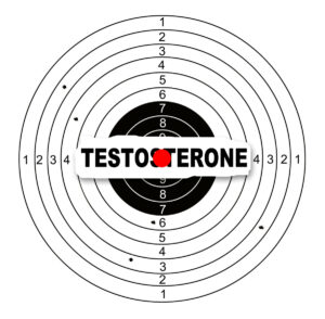 A picture of a dart board with the word testosterone written in the middle referring to test rx testosterone booster.