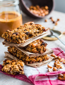 a stack of homemade protein bars as the perfect snack for muscle gain