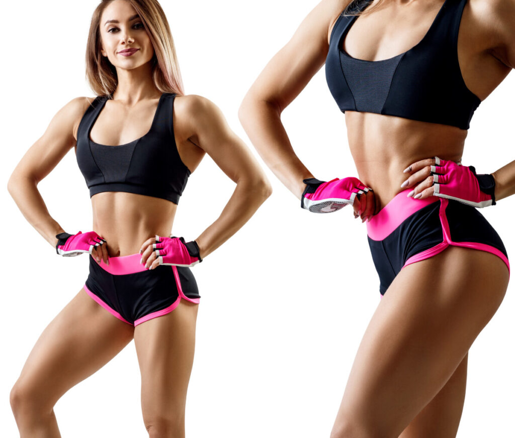 Collage of woman in sportswear demonstrating her muscular athletic body from supplementing with t bal 75 Isolated on white background