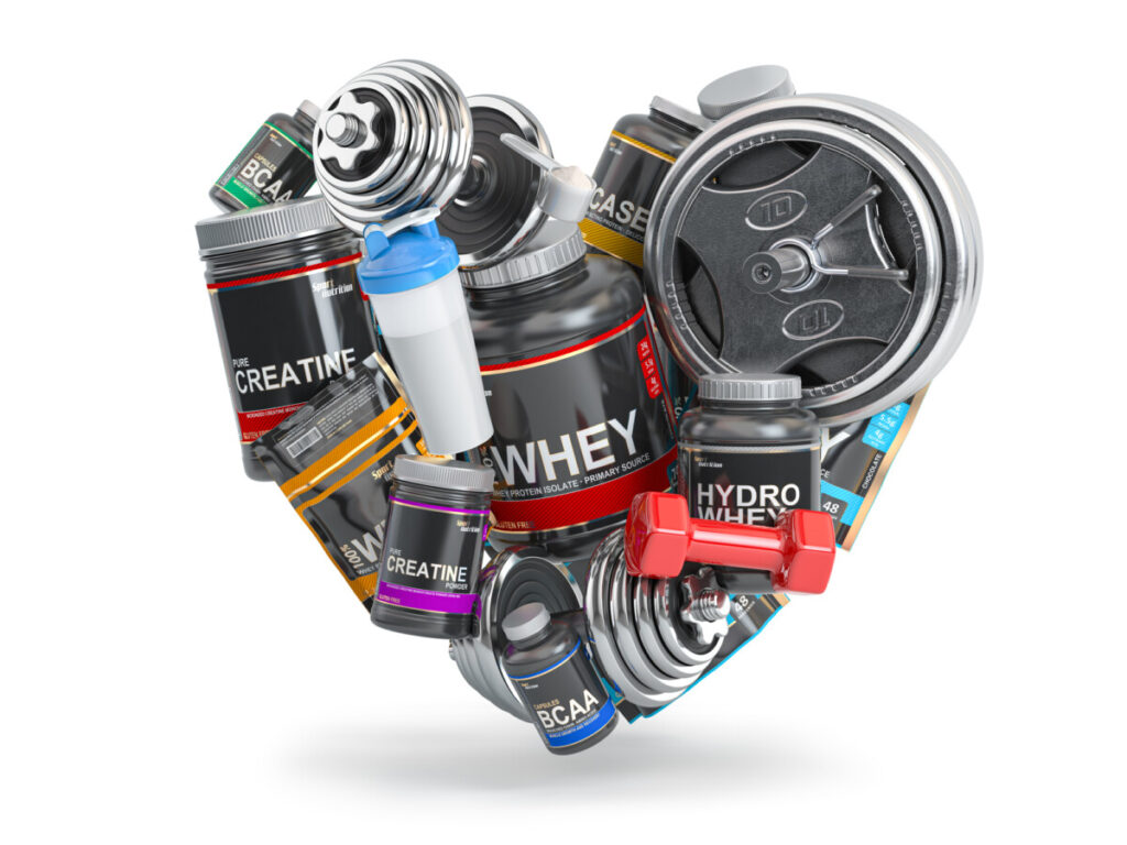 Bodybuilding and fitness. Sports  nutrition supplements (whey protein, bcaa, p-var, creatine), dumbells and barbell in form of heart isolated on white background. 3d illustration